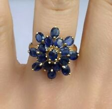 14k Solid Yellow Gold Flower Cluster Ring Natural Sapphire 3.10TCW, Sz 7.25