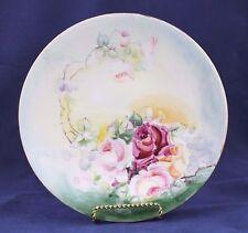 """Vintage J. P. L. Limoges France Signed Handpainted Porcelain Plate - Roses, 9"""""""