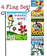 """*4-Pack* Beautiful Bright Colorful Welcome Garden Flags 12""""X18"""" All Seasons!"""