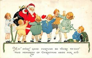 H62/ Santa Claus Christmas Postcard c1910 Kids Toys Fortune 105