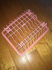 Vtg Kitchen Drying Rack Pink Play Child Toy Plastic