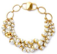 CHUNKY WHITE PEARL BEADED Gold Strand Haute Couture Statement necklace Bracelet