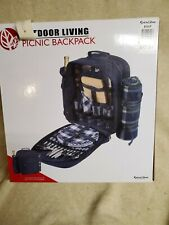 New listing Outdoor Insulated Picnic Backpack Mini Blanket Mat Set For 4 Person