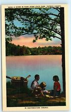 Fairy Stone State Park Patrick County Virginia Couple Boat Dog Lake Postcard D05