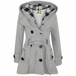 Kids Girls Overcoats Hooded Trench Coats Lapels Grey Padded Long Parka Jackets