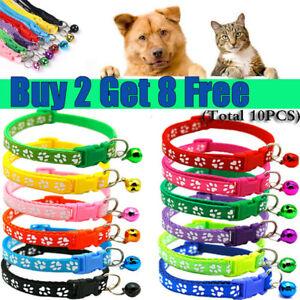 Cat Collar Dog Kitten Pet Puppy Paw Print Collar Adjustable with Bell Cute 32CM