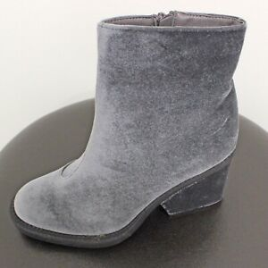 Grey Silver Velvet Booties Boots Size 8.5 New