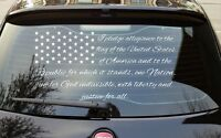 American Flag Car Truck Decal, Pledge Allegiance, Vinyl Sticker Back Window Wrap