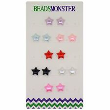 Color Star Magnetic Clip On Earrings Stud Gift for Girls Womens Girlfriend Kids
