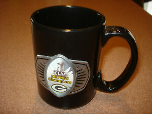 Vintage 2010 GREENBAY PACKERS CHAMPS   PEWTER LOG0 HEAVY DUTY Coffee Mug Cup
