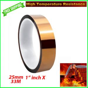 "HEAT RESISTANT Tape Sublimation Press Transfer Thermal Kapton 10mm 1"" 33m Hi Tem"