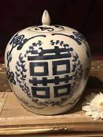 "Asian Porcelain Cobalt Blue & White Double Happiness Ginger Jar 10 1/2""x8"""