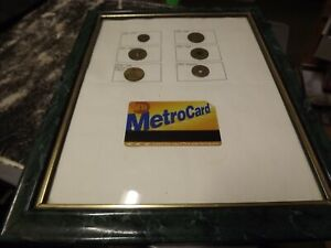 VINTAGE NYC SUBWAY TOKEN LOT 6 TOKENS AND METRO CARD IN FRAME SUBWAY HISTORY
