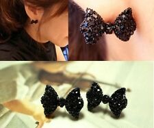 1Pair Cute Black Rhinestone Crystal Bowknot Bow Tie Stud Earrings NEW