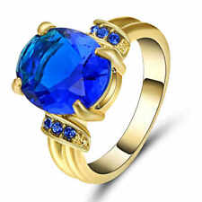 Blue Sapphire Ring 10KT Yellow Gold Filled Jewelry For Women/Men's Gift Size 7