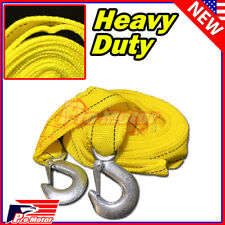 "13FT 2"" X 10' 3M Yellow Rope Heavy Duty Tow Strap Hooks 10K Lb 5 Ton Capacity"