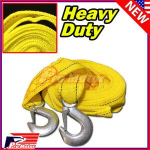 """13FT 2"""" X 10' 3M Yellow Rope Heavy Duty Tow Strap Hooks 10K Lb 5 Ton Capacity"""