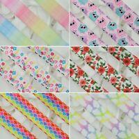"Fold Over Elastic Rainbow Pastel Colours 15mm (5/8"") Tutu FOE Soft Baby Headband"
