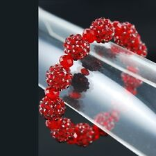 Red Bracelets Rhinestone Women Jewelry Crystal Ball Beads