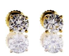 Natural Diamond Studs Earrings Yellow Gold Screw Round Cut GIA 1.43 CT K VS1
