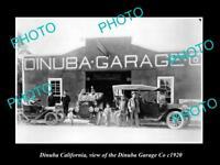 OLD LARGE HISTORIC PHOTO OF DINUBA CALIFORNIA, THE DINUBA MOTOR GARAGE c1920