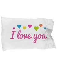 New white pillowcase I love you with hearts 20X30In *NO PILLOW INCLUDED*