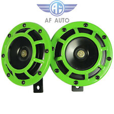 Green Loud Blast Tone Grill Mount 12v Electric Compact Car Horn 335hz400hz