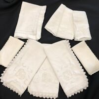 Vintage Mid Century White Linen Napkins Lot of 9 Assorted Lace Crochet Cut Outs