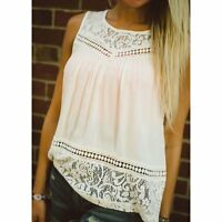 Ladies Lace Chiffon Casual Tank Tops Women Sleeveless Vest Summer Blouse T-shirt