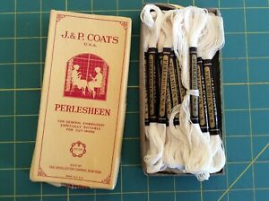 25 NOS J&P Coats Perlesheen No.8 Embroidery Floss cotton Pearle Pearl White