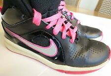 NIKE AIR Girls High Top Athletic Shoes Sneakers Basketball Gym Pink Black Silver