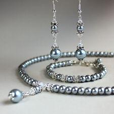 Light grey pearl crystal collar necklace bracelet earrings wedding jewellery set