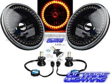 76-16 Jeep Wrangler Black Headlight Amber Halo Angel Eye 6K LED Light Bulb Pair