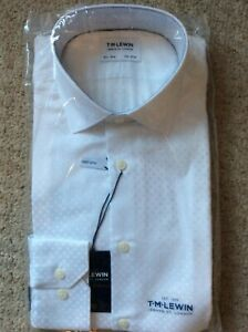 T.M.Lewin Mens Shirt 15.5 Collar 34.5 Sleeve White finest SATIN