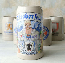 Set of 5 German Steinmugs, Beer Steins OKTOBERFEST MUNCHEN, GERMANY BY GERZ,