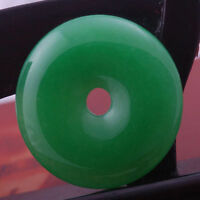 imperial green stone jade donut circle round bead pendant for necklace