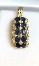 14k Solid Yellow Gold Two Rows Diamond 0.35CT Charm/ Pendant & Natural Sapphire