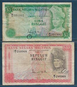 Malaysia 5 10 Ringgit Lot, 1976, P 14a 15, VF VF- see description