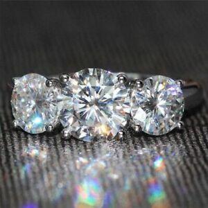 3.55 Ct Three Stone Round Cut Moissanite Engagement Wedding Ring 9K White Gold