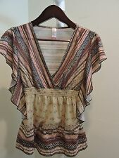 No Boundaries 100% Polyester Multi-Colored Scoop Neck Blouse - Size - Large