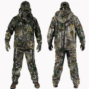 Winter Men Outdoor Bionic Camouflage Hunting Clothes Green Jacket Pants Hat suit