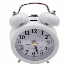 Vintage OLD STYLE Alarm Clock MINI Twin Metal Bell Mute Silent Analog WHITE