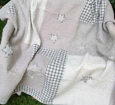 Tagesdecke GREY STERNE Grau Weiß Kariert 260x300 Patchwork Plaid Clayre&Eef