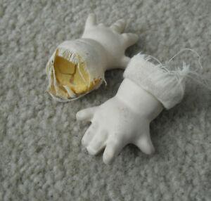 """Set of Vintage Ceramic Girl Doll Hands 1 3/4"""" Long"""