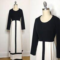 Vintage 70s Black & White Polyester Maxi Dress Size Medium