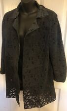 Vintage De Luxe  Coat Made In Italy Genuine Leather Perforated  Sz L   $950