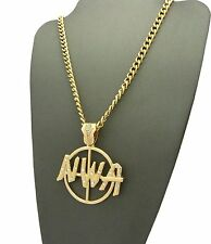 """Pendant 5mm 24"""" Cuban Chain Necklace Xsp469Cc Hip Hop Gold Micro Iced Out N.W.A"""