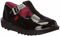 Kickers Kick Lo Aztec Infant Junior Girls Back To School Black Patent Shoes