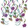 16pcs Flamingo Flower Hanging Swirls Cutout Tropical Party Wall Decoration