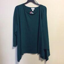 Womens Plus Size Jaclyn Smith Green Hanky Hem Sweater Size 3X